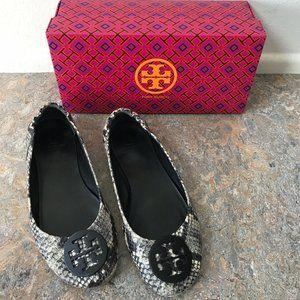 Tory Burch Minnie Travel Ballet Flats Shoes Snake